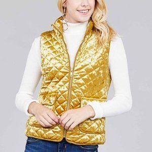 Gold Active velvet quilted pocket vest